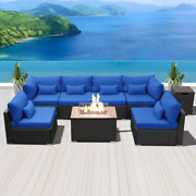 Dineli Patio Furniture Sectional Sofa With Gas Fire Pit Table Outdoor Patio Furn