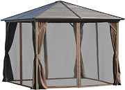 Outsunny 10' X 10' Outdoor Hardtop Patio Gazebo Steel Canopy With Aluminum Frame