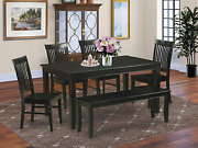 East West Furniture 6-piece Dinette Set Included A Rectangular Wood Dining Table