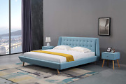 American Eagle Furniture B-d076 Mid Century Upholstered Platform Bed With Tufted