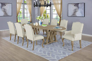 Best Quality Furniture 9 Piece Dining Set With Arm Side Chairs Beige