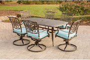 Hanover Traddn7pcsw6-blu Traditions 7 Piece Dining Set In Blue With 72 X 38 Cast