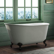 58 Cast Iron Swedish Tub With No Faucet Holes And Oil Rubbed Bronze Feet- Holt