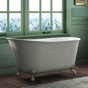 58 Cast Iron Swedish Tub With No Faucet Holes And Brushed Nickel Feet- Holt