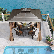 Purple Leaf 10and039 X 10and039 Outdoor Hardtop Permanent Double Roof Gazebo Galvanized St