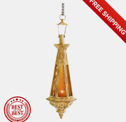 Amber Teardrop Lantern Moroccan Hanging Candle Antique Style Lamp 23 Inches Tall
