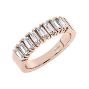 1 Ct Baguettes Diamond Studded With Claw Set Half Eternity Ring 18k Rose Gold