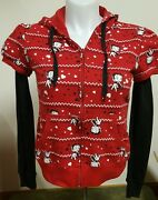 Betty Boop Zip Up Jacket Long Sleeve Hooded Red Black Juniors Size Large 11-13