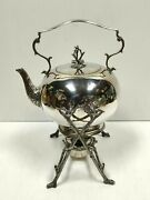 Vintage/antique Silver Plated Spirit Kettle With Falstaff Dish