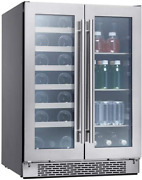 Zephyr 24 Inch Compact Under Counter Home Bar French Door Dual Zone Wine And Bev
