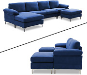 Keebgyy 4-piece 5 People Convertible Modular Sectional Sofa U Shaped Couch With