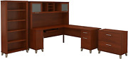 Bush Furniture Somerset L Shaped Desk With Hutch Lateral File Cabinet And Bookc