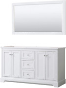 Avery 60 Inch Double Bathroom Vanity In White No Countertop No Sinks And 58 I
