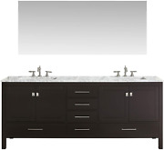 Eviva Aberdeen 72 Inch Espresso Transitional Double Sink Bathroom Vanity With Wh