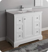 Fresca Windsor 40 Matte White Traditional Bathroom Cabinet W/top And Sink