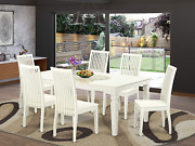 7 Pc Dining Set With One Logan Dinning Table And Six Wood Kitchen Chairs Finishe