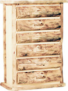 Mountain Woods Furniture Aspen Heirloom Collection 6 Drawer Chest Wood Pull Po