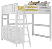 Pemberly Row Full Kids Wood Loft Bunk Bed With Desk And Dresser In White