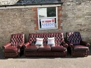 Vintage Oxblood Leather Chesterfield Monk Sofa And Chairs Free Delivery 🚚