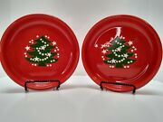 Two Vintage Waechtersbach Germany Red Christmas Tree Pasta Bowl Dish 8 Inch Vgc