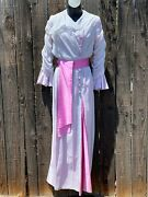 Edwardian Style Vintage Morning Day Dress With Pink Satin Details