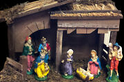 """Vintage Nativity Set 7 Figures And 12"""" High Wood Stable Made In Italy Free Ship"""