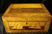 Antique Maritime Sewing Box 19th Century - Intricate Inlay Of Ships