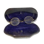 Antique Vintage Small Eyeglasses Spectacles With Case - Doleman Optical Prov R.i