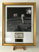 Buzz Aldrin Rare Signed Bank Cheque With Moon Landing Photo And Engraved Plaque