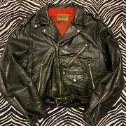Vintage 50s Penny's Two Star Leather Riders Jacket Black Men's Size L W52cm Rare