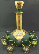 Murano Vintage Venetian Glass Hand-painted Decanter And 6 Cordial Glasses