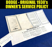 Original ✅ Dodge 1930's Owner's Service Policy And Id Card, 1939 Chrysler Plymouth