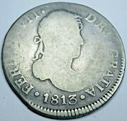 1813 Ng M Guatemala Silver 2 Reales Antique Spanish Colonial Two Bit Pirate Coin