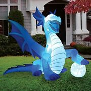 6 Ft Tall Halloween Inflatable Sitting Ice Dragon With Globe, Blow Up