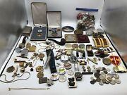 Junk Drawer Lot Misc Old Gold Filled +jewelry Lot Medals Pins Ectandhellip