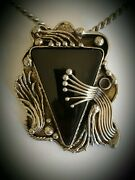 Vintage Ixel Artisanhandcrafted Onyx Pendant Necklace Brooch