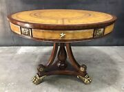 Elegant Maitland-smith 40 Mahogany Drum Table Tooled Leather Top And Brass Mounts