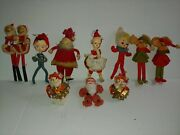 Vintage Christmas Decoration Lot Pixie Mice Santa Pipe Cleaner Ornaments +