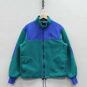 Vintage Polar Plus Fleece Jacket Large 90s Green Teal And Blue Made Canada Banff
