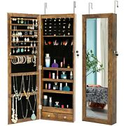 Antique Wall Mounted Jewelry Armoire Storage Cabinet With Led Lights Mirrored