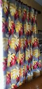 Barkcloth South Beach Pair Drapes Pleated/lined 81l X482 Panels=8and039 Tropical