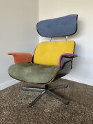 Up-cycled Mid Century Modern Multi-color Eames Style Vintage 70s Lounge Chair