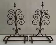 Vintage Hand Forged Metal Shelf Pair Bracket Stands Wall Shelves Swirl Antique