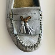 Women's Uggs Lite Blue Leather Moccasin Shoes Slippers Size 8