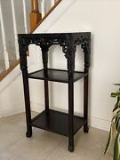 Antique Chinese Carved Marble Top Hardwood Plant Table Stand Stool 31andrdquo Tall