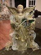 Vintage Christmas Angel Tree Topper 12andrdquo Tall Gold Dress Gold Snowflakes