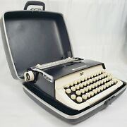 Vtg 1960s Smith-corona Galaxie Typewriter W/ Case ☆ Black And Ivory ☆ Outstanding