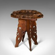 Vintage Carved Occasional Table Chinese Elm Side Lamp Art Deco Circa 1940