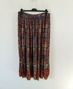 Orvis Handcrafted Retro Paisley Print Crinkle Long Skirt Size L Vintage Hippie