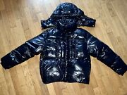Moncler Shiny Black Down Puffer Jacket New Size 2